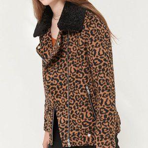 NWT Avec Les Filles Leopard Cheetah Moto Jacket